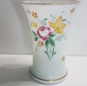 Vintage Vase White With Pink and Yellow Floral Des